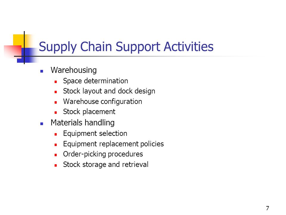 7 Supply Chain Support Activities Warehousing Space determination Stock layout and dock design Warehouse configuration Stock placement Materials handl