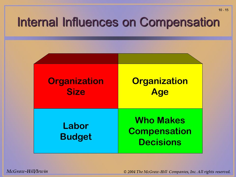 McGraw-Hill/Irwin © 2004 The McGraw-Hill Companies, Inc. All rights reserved. 10 - 15 Internal Influences on Compensation Organization Size Organizati