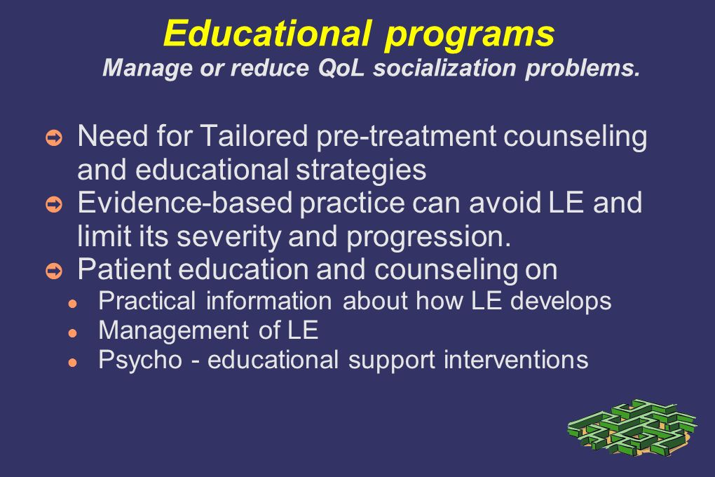 Educational programs Manage or reduce QoL socialization problems.