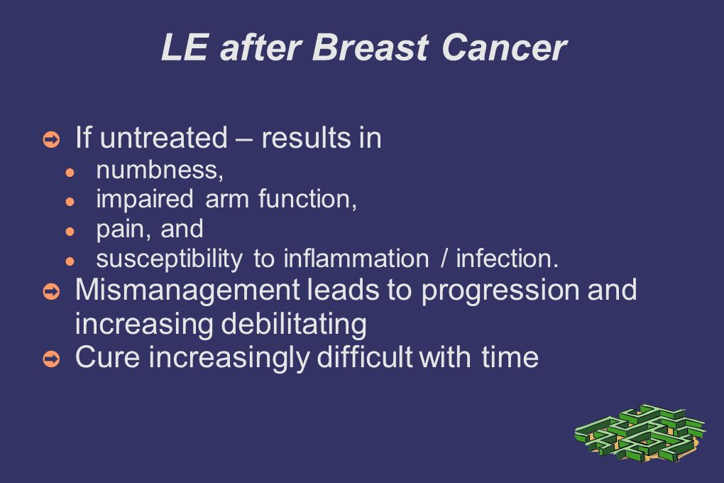 LE after Breast Cancer If untreated – results in numbness, impaired arm function, pain, and susceptibility to inflammation / infection.