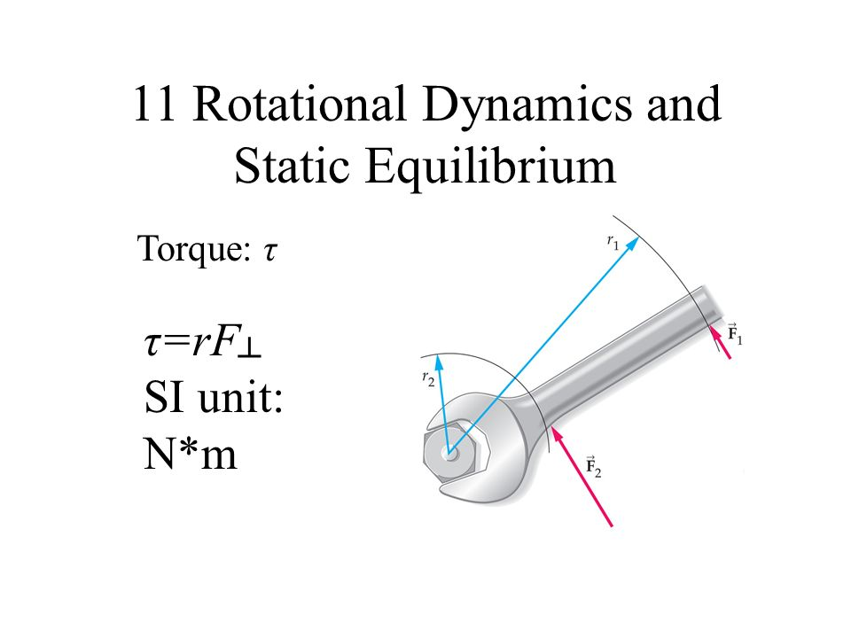 11 Rotational Dynamics and Static Equilibrium Torque: τ τ=rF SI unit: N*m