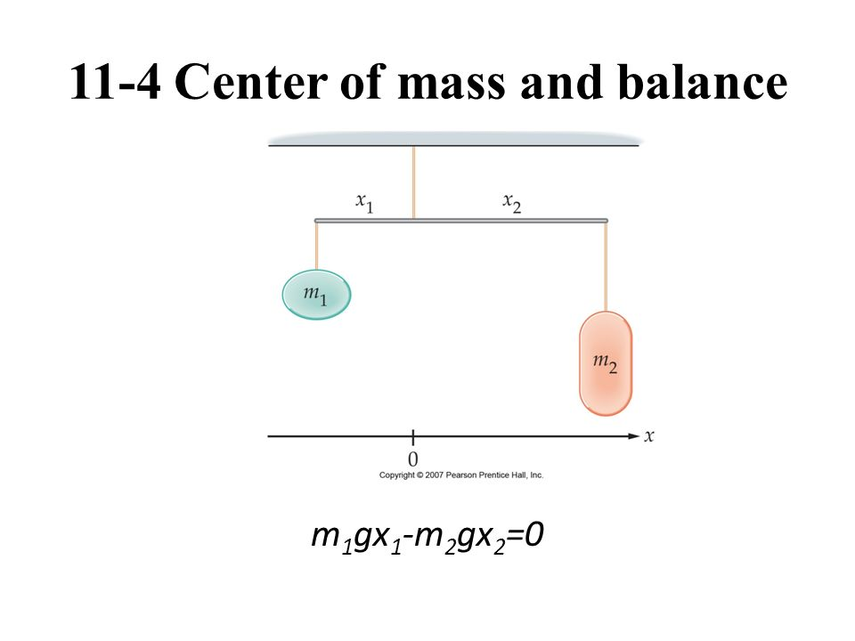 11-4 Center of mass and balance m 1 gx 1 -m 2 gx 2 =0