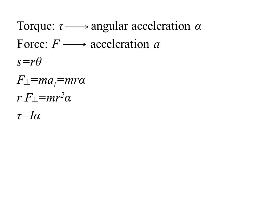 Torque: τ angular acceleration α Force: F acceleration a s=rθ F =ma t =mrα r F =mr 2 α τ=Iα