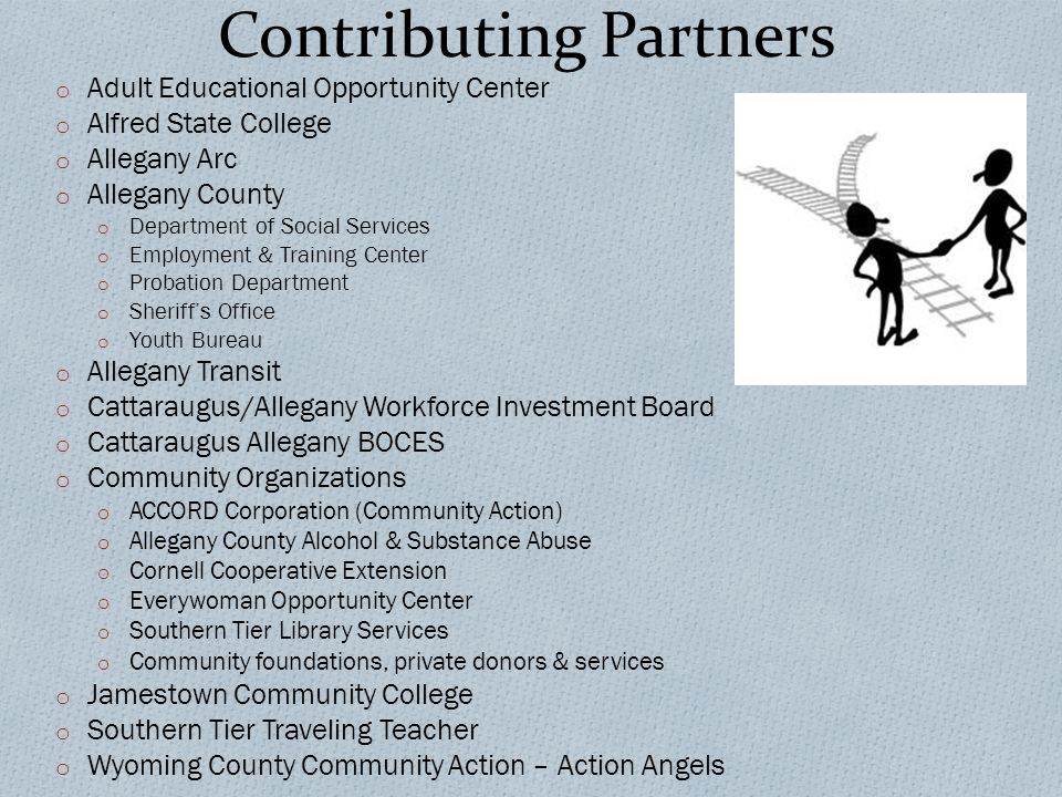 Contributing Partners o Adult Educational Opportunity Center o Alfred State College o Allegany Arc o Allegany County o Department of Social Services o