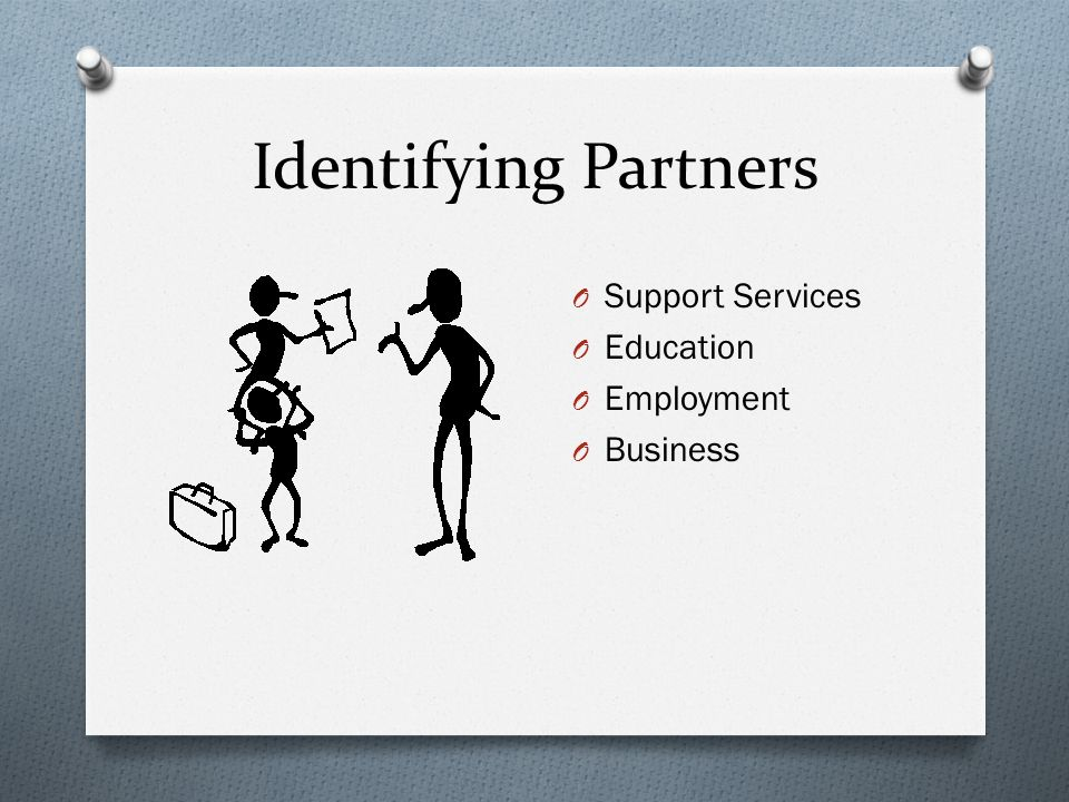 Identifying Partners O Support Services O Education O Employment O Business