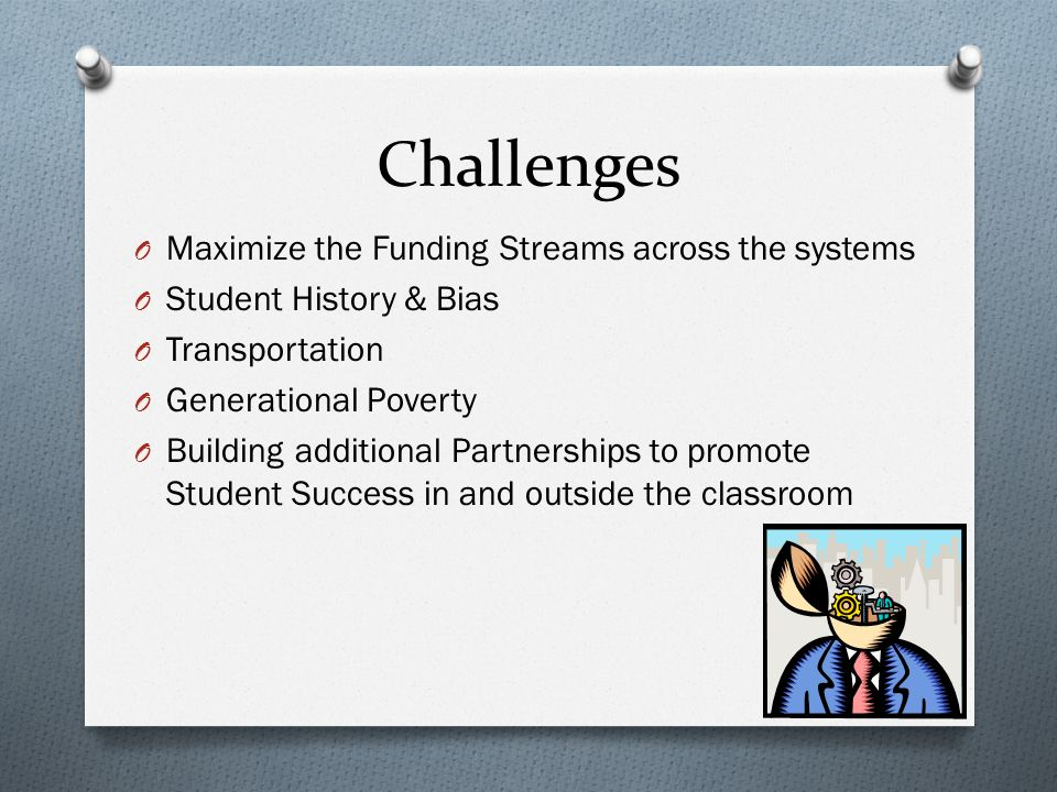 Challenges O Maximize the Funding Streams across the systems O Student History & Bias O Transportation O Generational Poverty O Building additional Partnerships to promote Student Success in and outside the classroom