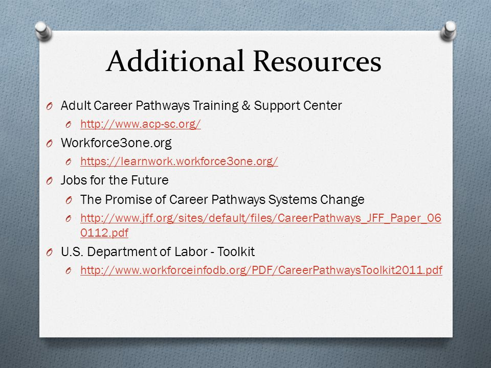 Additional Resources O Adult Career Pathways Training & Support Center O http://www.acp-sc.org/ http://www.acp-sc.org/ O Workforce3one.org O https://learnwork.workforce3one.org/ https://learnwork.workforce3one.org/ O Jobs for the Future O The Promise of Career Pathways Systems Change O http://www.jff.org/sites/default/files/CareerPathways_JFF_Paper_06 0112.pdf http://www.jff.org/sites/default/files/CareerPathways_JFF_Paper_06 0112.pdf O U.S.