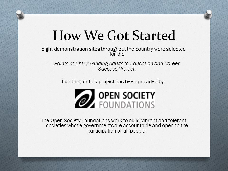 How We Got Started Eight demonstration sites throughout the country were selected for the Points of Entry: Guiding Adults to Education and Career Success Project.
