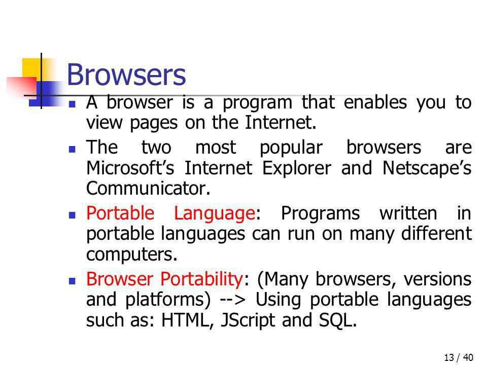 / 4013 Browsers A browser is a program that enables you to view pages on the Internet. The two most popular browsers are Microsofts Internet Explorer