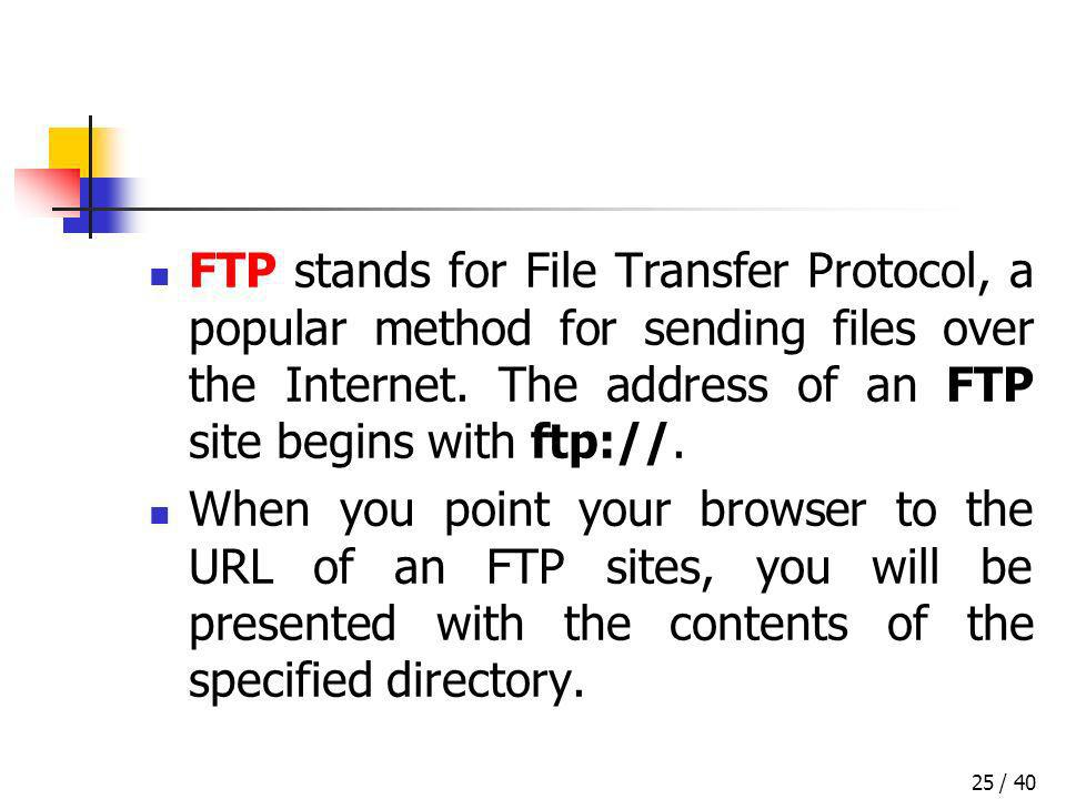 / 4025 FTP stands for File Transfer Protocol, a popular method for sending files over the Internet. The address of an FTP site begins with ftp://. Whe