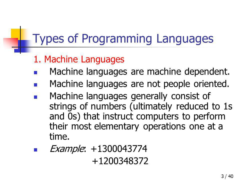 / 403 Types of Programming Languages 1. Machine Languages Machine languages are machine dependent. Machine languages are not people oriented. Machine