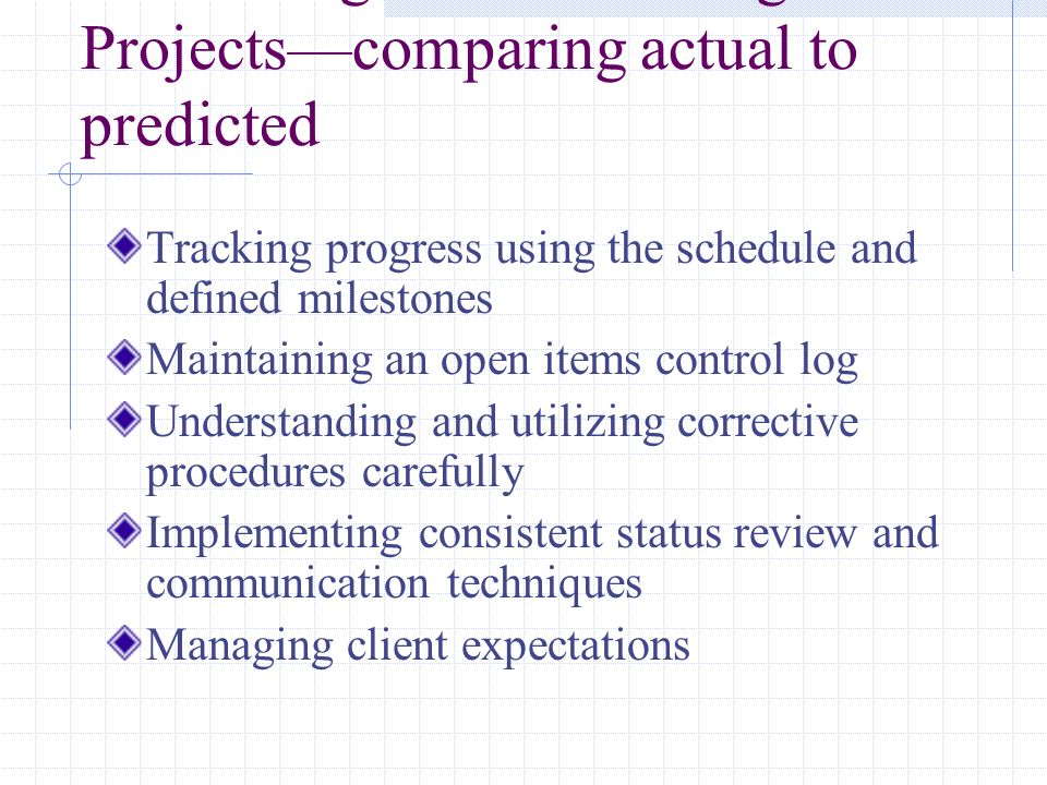 Monitoring and Controlling Projectscomparing actual to predicted Tracking progress using the schedule and defined milestones Maintaining an open items