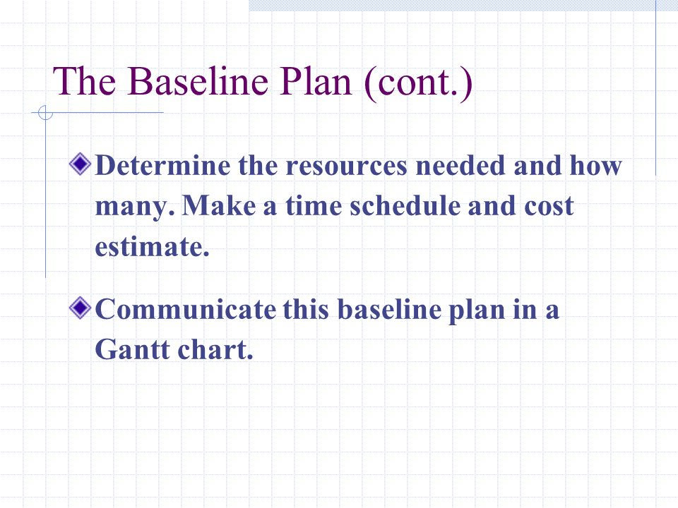 The Baseline Plan (cont.) Determine the resources needed and how many. Make a time schedule and cost estimate. Communicate this baseline plan in a Gan