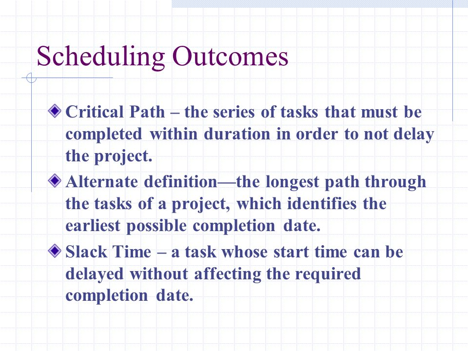 Scheduling Outcomes Critical Path – the series of tasks that must be completed within duration in order to not delay the project. Alternate definition