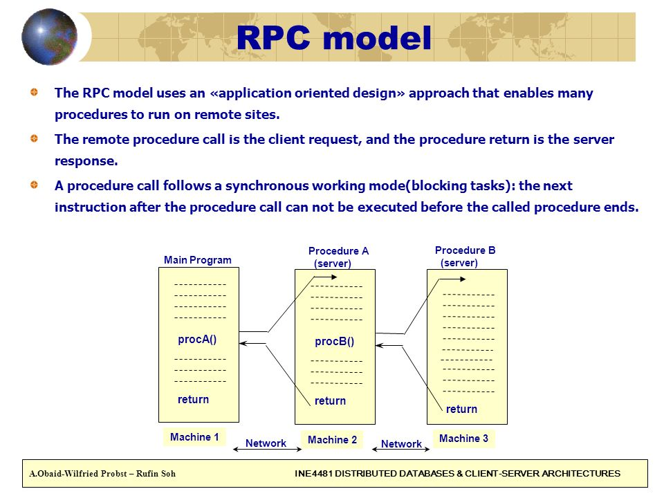 RPC model The RPC model uses an «application oriented design» approach that enables many procedures to run on remote sites. The remote procedure call