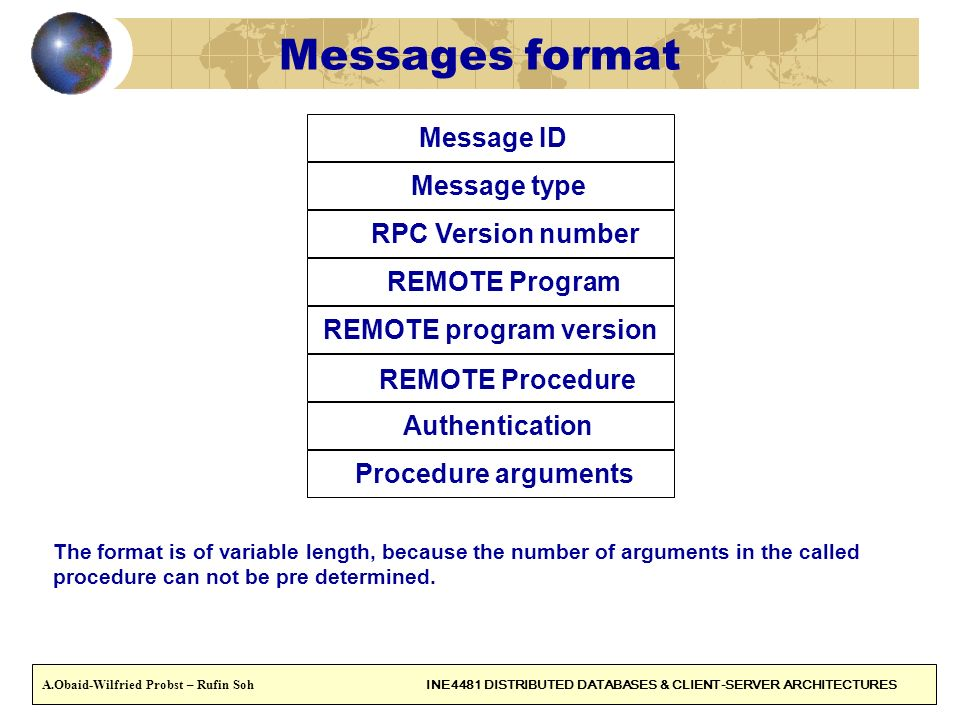 29 Messages format Message ID Message type RPC Version number REMOTE Program REMOTE program version REMOTE Procedure Authentication Procedure argument