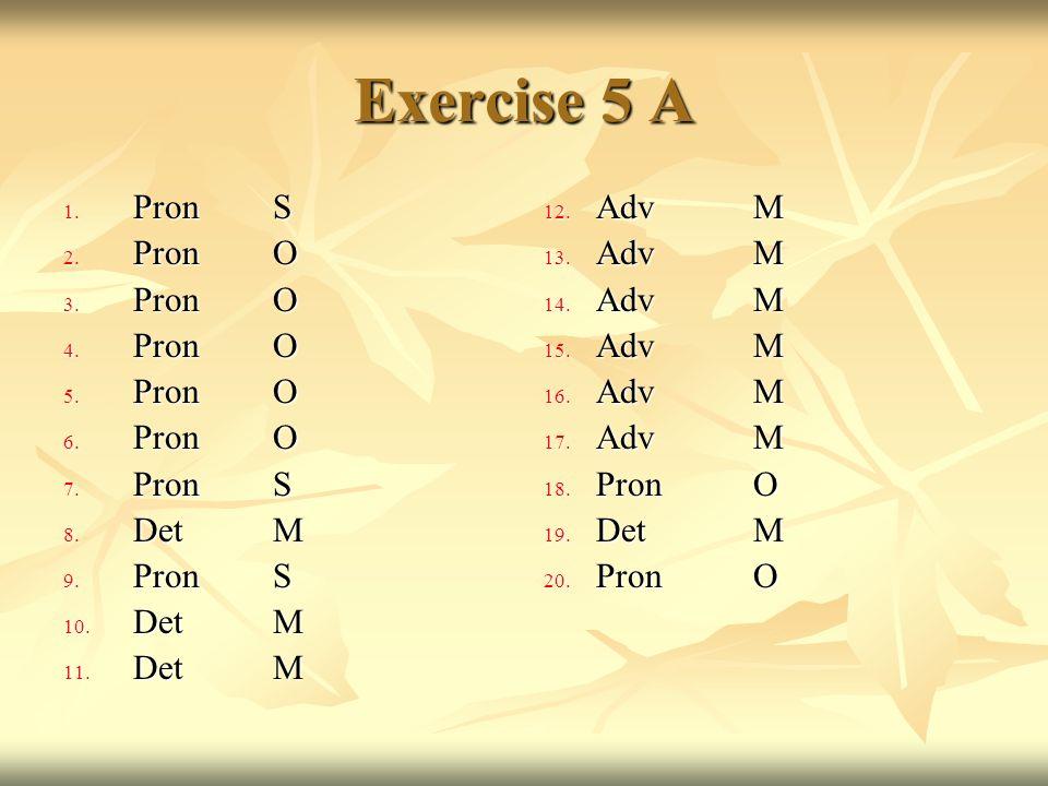 Exercise 5 A 1. PronS 2. PronO 3. PronO 4. PronO 5. PronO 6. PronO 7. PronS 8. DetM 9. PronS 10. DetM 11. DetM 12. AdvM 13. AdvM 14. AdvM 15. AdvM 16.