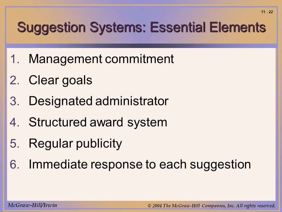McGraw-Hill/Irwin © 2004 The McGraw-Hill Companies, Inc. All rights reserved. 11 - 22 Suggestion Systems: Essential Elements 1. Management commitment