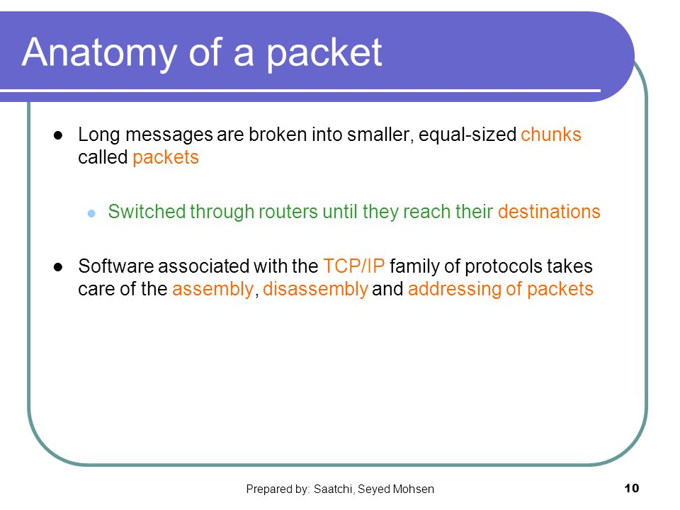 Prepared by: Saatchi, Seyed Mohsen10 Anatomy of a packet Long messages are broken into smaller, equal-sized chunks called packets Switched through routers until they reach their destinations Software associated with the TCP/IP family of protocols takes care of the assembly, disassembly and addressing of packets