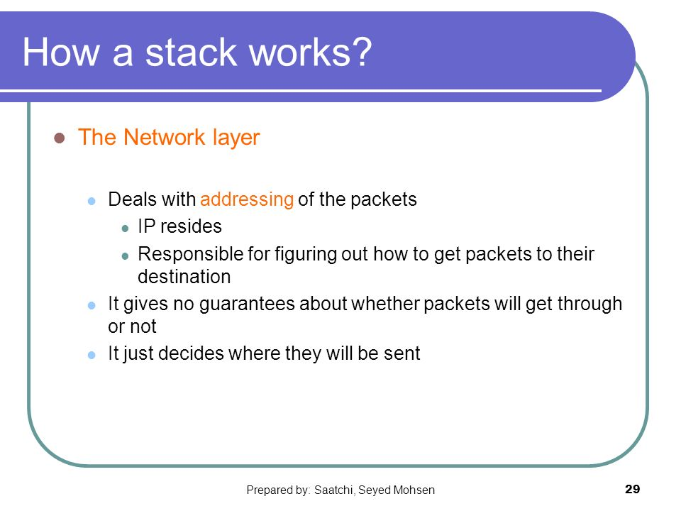 Prepared by: Saatchi, Seyed Mohsen29 How a stack works.