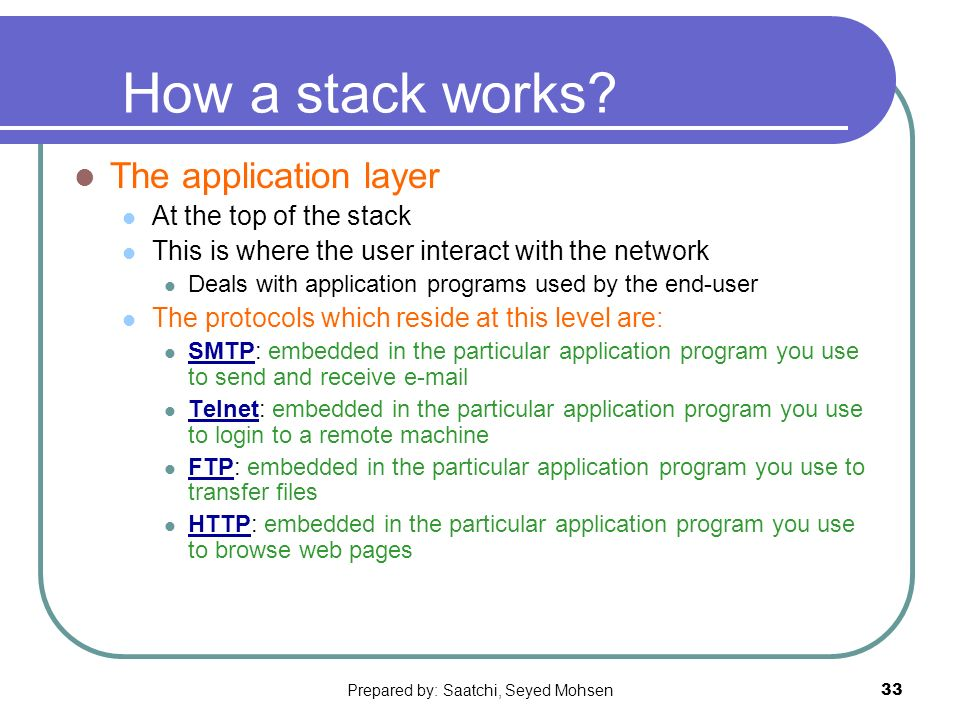 Prepared by: Saatchi, Seyed Mohsen33 How a stack works.