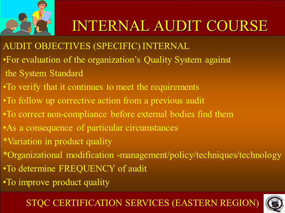 INTERNAL AUDIT COURSE AUDIT OBJECTIVES (SPECIFIC) INTERNAL For evaluation of the organizations Quality System against the System Standard To verify th