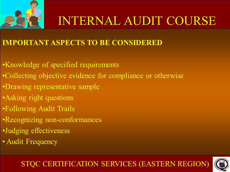 INTERNAL AUDIT COURSE IMPORTANT ASPECTS TO BE CONSIDERED Knowledge of specified requirements Collecting objective evidence for compliance or otherwise