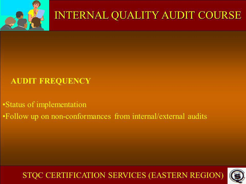 AUDIT FREQUENCY Status of implementation Follow up on non-conformances from internal/external audits STQC CERTIFICATION SERVICES (EASTERN REGION) INTE