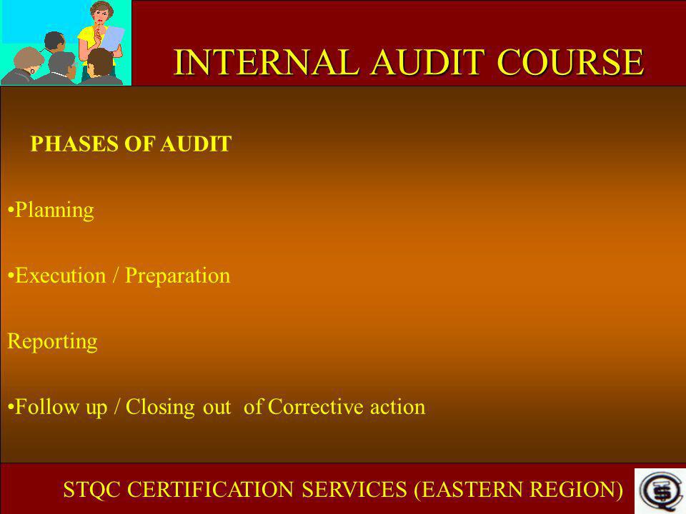 INTERNAL AUDIT COURSE PHASES OF AUDIT Planning Execution / Preparation Reporting Follow up / Closing out of Corrective action STQC CERTIFICATION SERVI