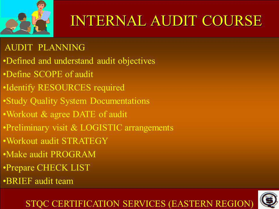 INTERNAL AUDIT COURSE AUDIT PLANNING Defined and understand audit objectives Define SCOPE of audit Identify RESOURCES required Study Quality System Do