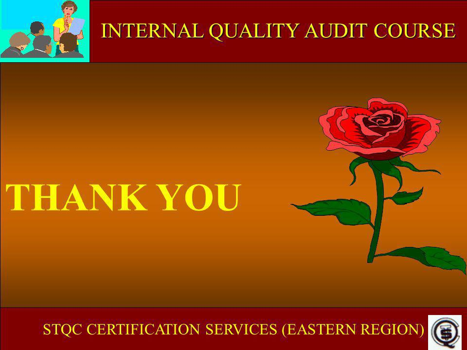 ISO 9000 IN EDUCATIONAL & TRAINING INSTITUTE THANK YOU STQC CERTIFICATION SERVICES (EASTERN REGION) INTERNAL QUALITY AUDIT COURSE
