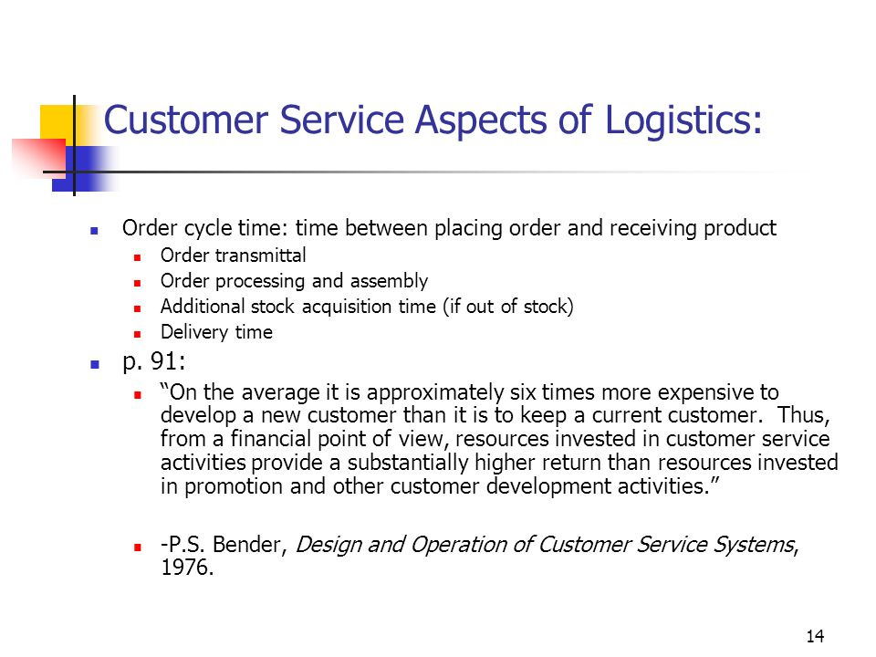 14 Customer Service Aspects of Logistics: Order cycle time: time between placing order and receiving product Order transmittal Order processing and as