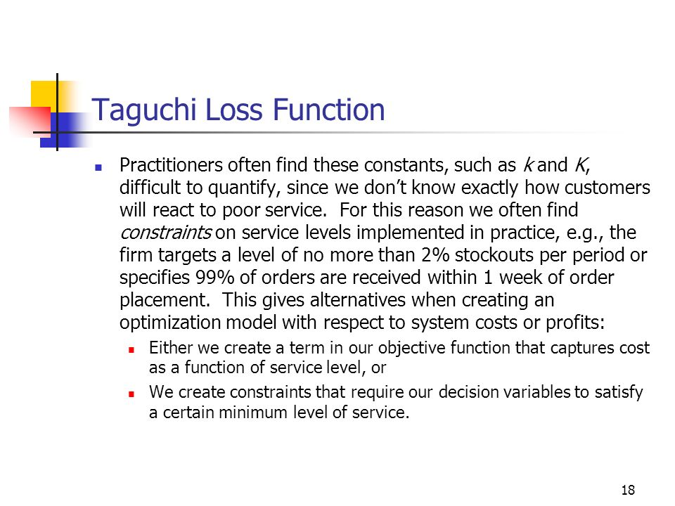 18 Taguchi Loss Function Practitioners often find these constants, such as k and K, difficult to quantify, since we dont know exactly how customers wi