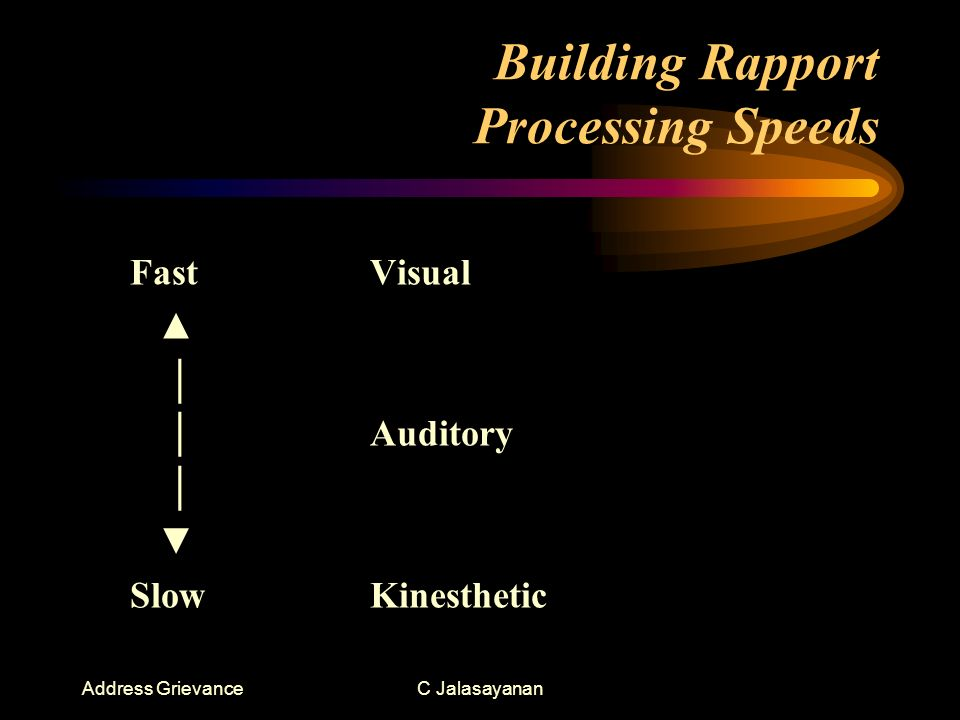 Address GrievanceC Jalasayanan Building Rapport Processing Speeds FastVisual Auditory SlowKinesthetic