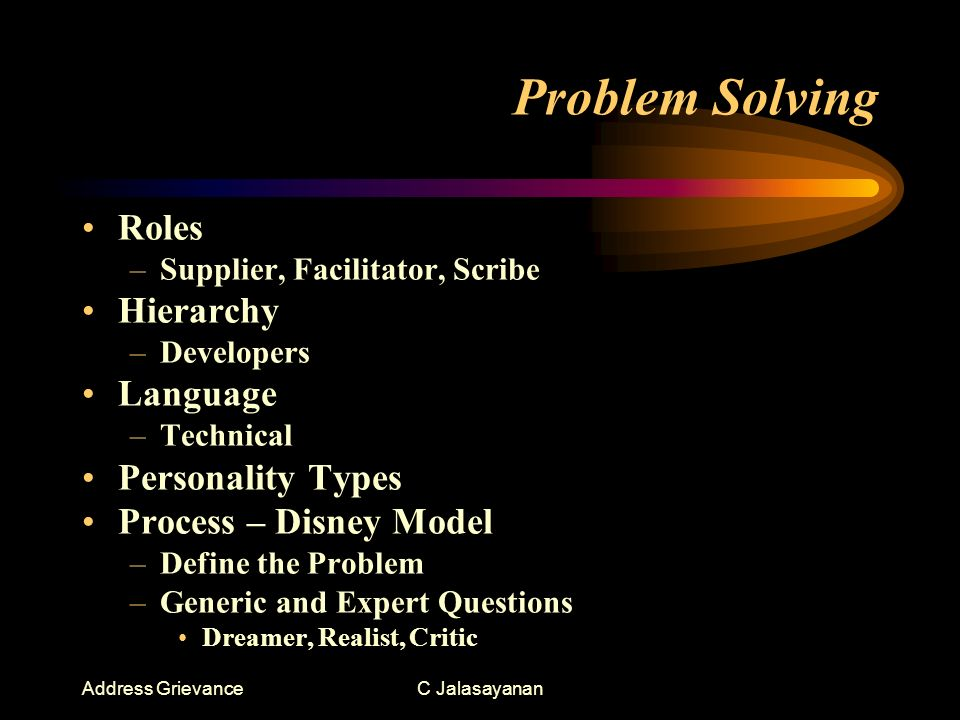 Address GrievanceC Jalasayanan Problem Solving Roles –Supplier, Facilitator, Scribe Hierarchy –Developers Language –Technical Personality Types Process – Disney Model –Define the Problem –Generic and Expert Questions Dreamer, Realist, Critic