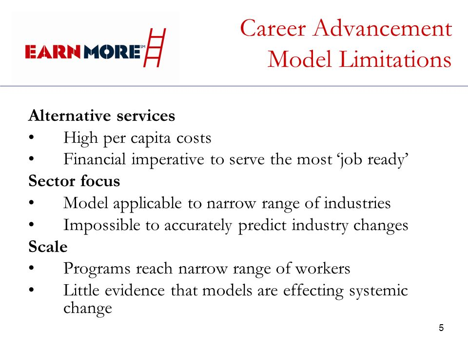 5 Career Advancement Model Limitations Alternative services High per capita costs Financial imperative to serve the most job ready Sector focus Model applicable to narrow range of industries Impossible to accurately predict industry changes Scale Programs reach narrow range of workers Little evidence that models are effecting systemic change