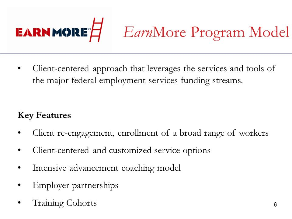 6 EarnMore Program Model Client-centered approach that leverages the services and tools of the major federal employment services funding streams.