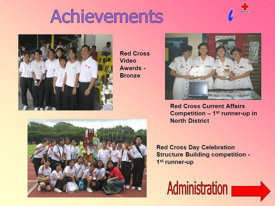 Red Cross Current Affairs Competition – 1 st runner-up in North District Red Cross Day Celebration Structure Building competition - 1 st runner-up Red Cross Video Awards - Bronze
