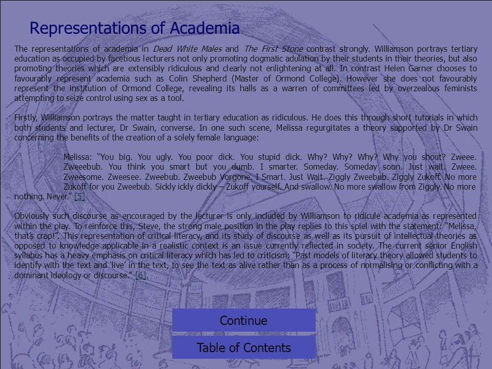 Representations of Academia Table of Contents The representations of academia in Dead White Males and The First Stone contrast strongly.