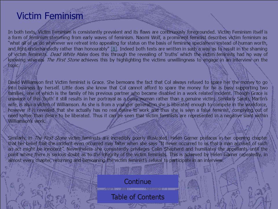 Victim Feminism Table of Contents In both texts, Victim Feminism is consistently prevalent and its flaws are continuously foregrounded.