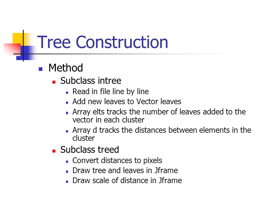 Tree Construction Method Subclass intree Read in file line by line Add new leaves to Vector leaves Array elts tracks the number of leaves added to the vector in each cluster Array d tracks the distances between elements in the cluster Subclass treed Convert distances to pixels Draw tree and leaves in Jframe Draw scale of distance in Jframe