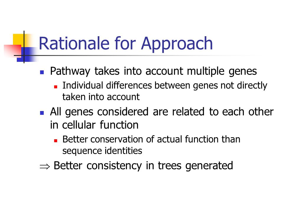 Rationale for Approach Pathway takes into account multiple genes Individual differences between genes not directly taken into account All genes considered are related to each other in cellular function Better conservation of actual function than sequence identities Better consistency in trees generated