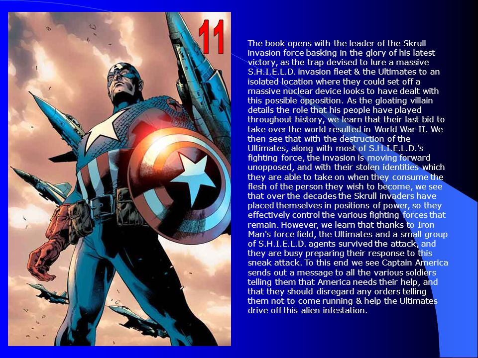 The Ultimates #10 begins with a flashback to 1944. Captain America, wearing his retro leather mask and military style uniform, dangles from a train in