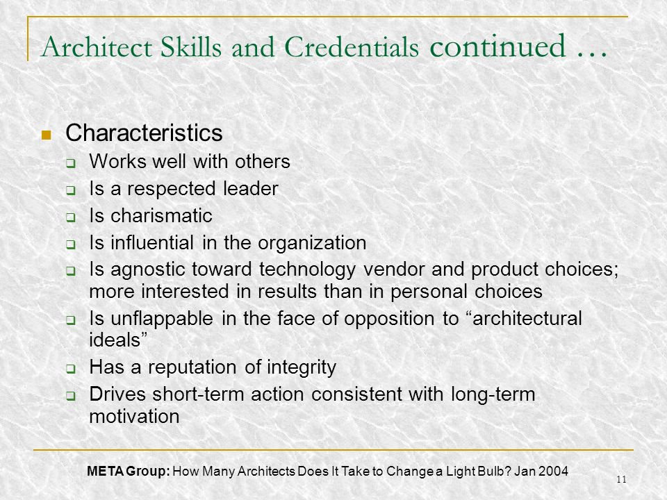 11 Architect Skills and Credentials continued … Characteristics Works well with others Is a respected leader Is charismatic Is influential in the orga
