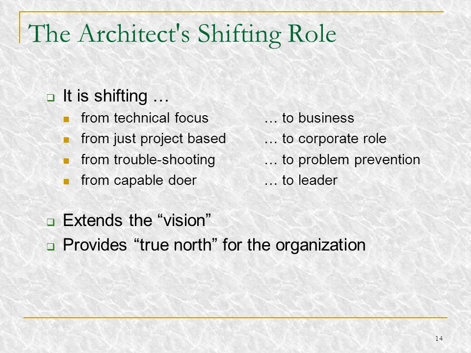 14 The Architect's Shifting Role It is shifting … from technical focus … to business from just project based … to corporate role from trouble-shooting