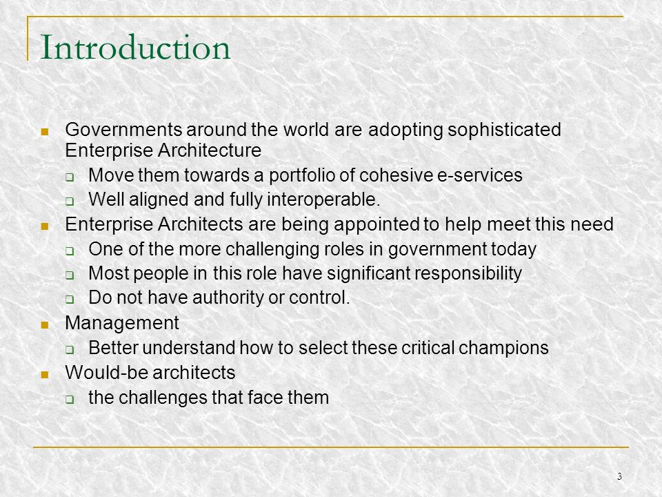 14 The Architect s Shifting Role It is shifting … from technical focus … to business from just project based … to corporate role from trouble-shooting … to problem prevention from capable doer… to leader Extends the vision Provides true north for the organization