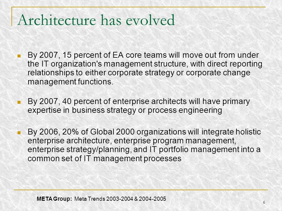 6 Architecture has evolved By 2007, 15 percent of EA core teams will move out from under the IT organization's management structure, with direct repor