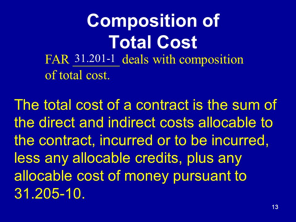 General Composition of Total Cost.