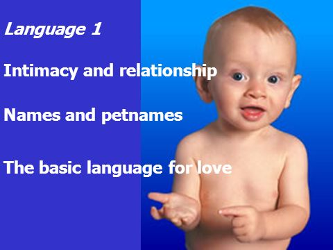 Language 1 Intimacy and relationship Names and petnames The basic language for love
