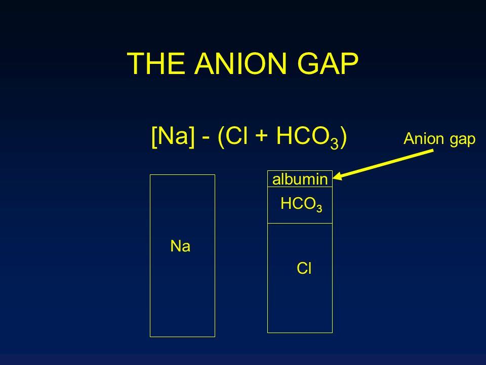 THE ANION GAP [Na] - (Cl + HCO 3 ) Na Cl HCO 3 albumin Anion gap
